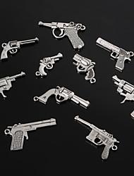 Beadia Vintage Metal Charm Pendants Antique Silver Handgun Shape Bracelet Charms 10 Styles