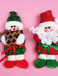 "2PCS/SET 19CM/7.5"" Christmas Decoration Gift Hanging Standing Santa Claus Snowman Doll Plush Toy New Year Gift"