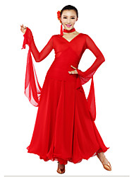 Ballroom Dance Dresses Women's Performance Chiffon / Milk Fiber Draped 1 Piece Black / RedModern Dance / Performance / Ballroom /