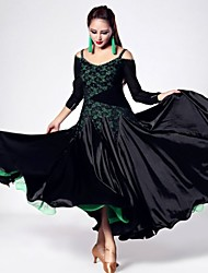 Ballroom Dance Dresses Women's Performance Lace / Silk Draped 1 Piece Green / Pink