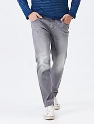 LEEPEN New Autumn Men's Slim Pencil Light Grey Jeans.