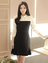 Women's Patchwork Black Dress , Casual Shirt Collar Long Sleeve