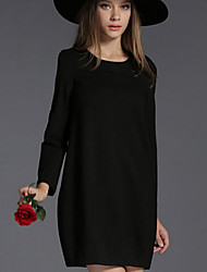 Women's Work Plus Size Dress,Solid Round Neck Above Knee Long Sleeve Red / Black Cotton Fall