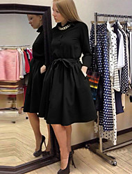 Women's Casual Solid A Line Dress , Round Neck Knee-length Polyester
