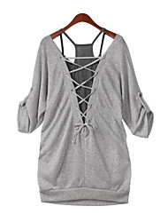 Tee-shirt Femme,Couleur Pleine Décontracté / Quotidien simple Printemps ½ Manches V Profond Gris Coton Opaque