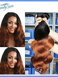 2pieces onda del cuerpo del pelo virginal peruano omber extensiones de pelo teje sin procesar peruana 7a humano del pelo del pelo de dos