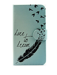 For LG Case Card Holder / Wallet / with Stand / Flip Case Full Body Case Feathers Hard PU Leather LG