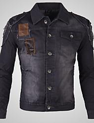 Men's Pure Long Sleeve Coat , Denim Casual / Plus Sizes