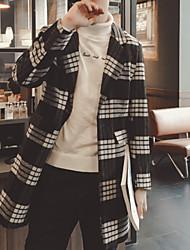 Men's Long Sleeve Long Coat , Fleece Plaids & Checks