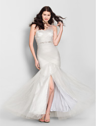 Mermaid / Trumpet V-neck Floor Length Tulle Bridesmaid Dress with Crystal Detailing Criss Cross by LAN TING BRIDE®
