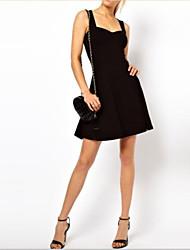 Women's Solid Black / Navy Blue Dress , Sexy / Party V Neck Sleeveless