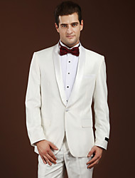 Suits Slim Fit Shawl Collar Single Breasted One-button Wool Solid 2 Pieces Ivory