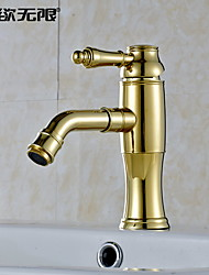 WeiYuWuXian® Golden 360°Rotary Water Outlet Brass Bathroom Sink Faucet