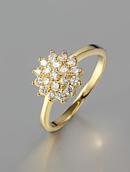Noble Flower CZ Stone 18K Gold Plated Band Rings Wedding Party Rings For Woman