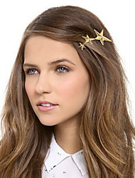 Women Metal Three Golden Stars Pattern Hairpin Clip Hair Accessories