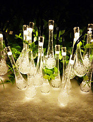 King Ro 6.5M 30LED Crystal WaterDrop Shape Garden Solar Christmas Lights