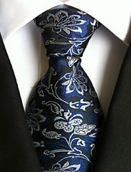 Men Wedding Cocktail Necktie At Work Blue White Flower Tie