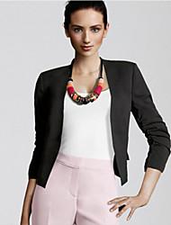 Women's Solid Blue / Pink / Black / Orange / Yellow Blazer , Casual Shirt Collar Long Sleeve