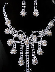 Lucky Doll Women's All Matching 925 Silver Plated Man Made Pearl Zirconia Long Tassel Necklace & Earrings Jewelry Sets