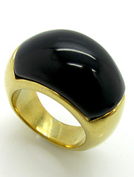 Fashion Agate Exaggerated Titanium Steel Rings 18K Gold Brand Design Vintage Jewelry For Women