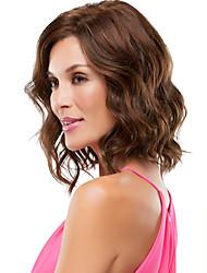 dama de la moda cortos marrones rubias naturales onda pelucas sintéticas de la venta caliente.