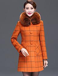 Women's Geometric Blue / White / Orange Coat , Casual / Work / Plus Sizes Long Sleeve Wool