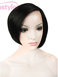 Natural Looking Lady Bob Style Black Around Face Synthetic Lace Front Wigs