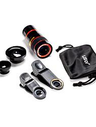 universal 5 em 1 caso clipe 0,65x grande angular& Olho de peixe de 180 °& 8 vezes lente do telescópio definido para telefone