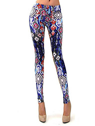 Women's Print Multi-color Skinny Pants , Casual