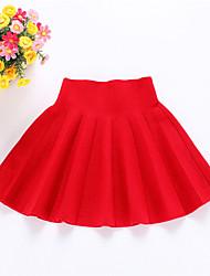 Vestido Chica de-Vacaciones-Un Color-Lana-Invierno / Primavera / Otoño-Negro / Verde / Rojo / Gris
