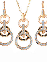 Hot Fashion Vintage Circle Pendant Necklace Drop Earring Jewelry Set