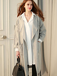 Women's Solid Gray Trench Coat , Sexy Long Sleeve Others