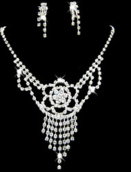 Lucky Doll Women's All Matching Silver Plated Zirconia Flower Long Tassel Necklace & Earrings Jewelry Sets