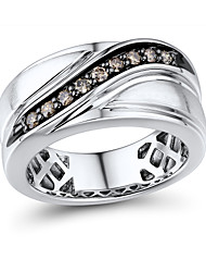 Sterling Silver set with Brown Diamond Men's Wide Band Ring
