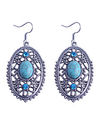 Vintage Style Turkey Blue Tophus Diamond Long Oval Pendant Earring