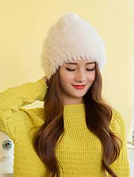 Women Cute Rabbit Fur  Hats with Pompon LD00085