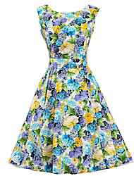 Women's Blue Floral Dress , Vintage Sleeveless 50s Rockabilly Swing Short Cocktail Dress