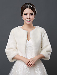 Wedding  Wraps Shrugs 3/4-Length Sleeve Faux Fur Ivory Wedding 34cm Open Front