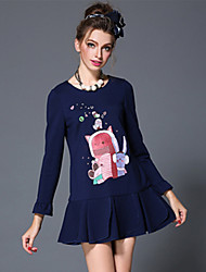Europe Fashion Women Winter Vintage Embroidery Cute Cartoon Patchwork Falbala Plus Size Long Sleeve Short Dress