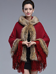 Wedding  Wraps / Fur Coats / Hoods & Ponchos Capelets Sleeveless Faux Fur / Imitation Cashmere Black / Khaki / Red WeddingFeathers / fur