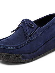 Women's Shoes Suede Wedge Heel Wedges / Platform / Creepers Loafers Outdoor / Office & Career / Casual Black