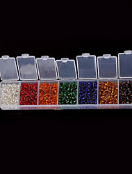 Beadia 1Box/82g Glass Seed Beads 3mm 4mm Round Mixed Colors With Silver Inner  (3mm aprx.1900pcs  4mm aprx.700pcs)