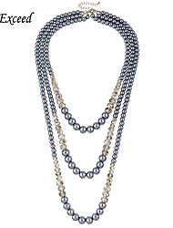D exceed Fashion Three Layers Grey Glass Pearl Ball Beads & Crystal Beads Necklace for Women