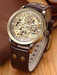 SHENHUA Pánské Náramkové hodinky Automatické natahování S dutým gravírováním Kůže Kapela Luxusní Černá Hnědá