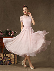 Ankle-length Chiffon / Lace Bridesmaid Dress - A-line Jewel with Lace
