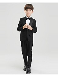 Black / White Polyester Ring Bearer Suit - 4 Pieces