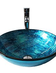 Современный 1.2*42*14.5 Круглый Раковина Материал является Закаленное стеклоумывальник для ванной смеситель для ванной монтажное кольцо