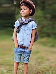 Boy's Cotton Summer Fashion Jeans  Shirt Jeans Short  Two-Piece Set