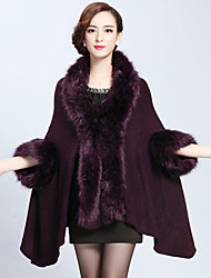 Wedding  Wraps / Fur Coats / Hoods & Ponchos Capes 3/4-Length Sleeve Faux Fur / Imitation CashmereBlack / Burgundy / Dark Navy / Grape /