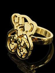 Fashion Stainless Steel Gold Silver Love Heart Teddy Bear Women Finger Ring Jewelry(1PC)